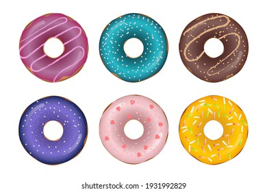 Set of donuts with multicolored glaze. Vector illustration