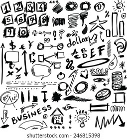 set doodle abstract business icons, vector