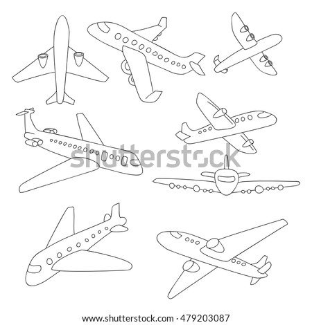 set doodle airplanes hand draw icons stock vector royalty free