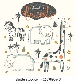 set of doodle animals.Zebra; Elephant; Hippopotamus; Hippo; Giraffe;cartoon hand drawn vector illustration.