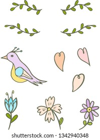 Set of doodle bird, flowers and hearts. Vector.