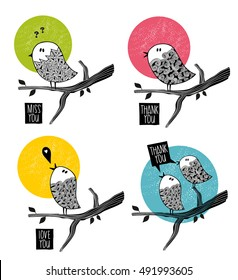 Set of doodle birds on the tree. Summer vector illustration.