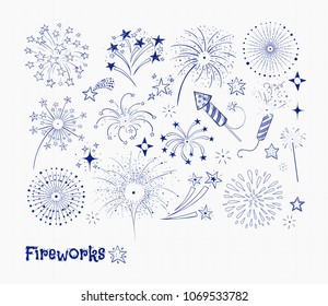 Set of doodle blue pen sketch firework and fireckrackers on lined paper