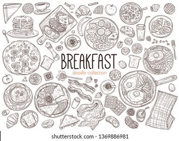 Set of doodle breakfast food and good morning elements and icons. Vector sketch hand drawn illustration