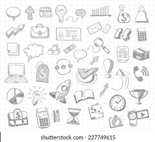 Set of doodle business management infographics elements icons on background in the box. Sketch collection of man bubble graph letter badge magnifying glass lightbulb chart arrow bow card