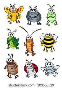 Set of doodle cartoon insects. Vector illustration