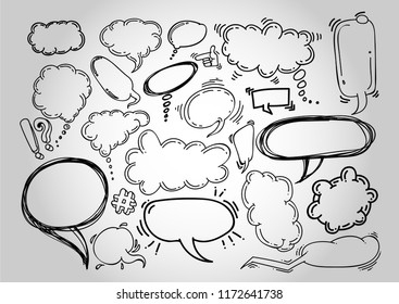 Set of doodle chat cartoon bubbles. Hand drawn. Vector illustration. Freehand drawing. Isolated on white background.