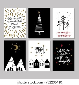Set of doodle Christmas greeting cards. Vector hand drawn cute icons. Scandinavian style. Xmas tree, houses, garland, mountains and lettering. New Year scrapbook. Holiday festive party.
