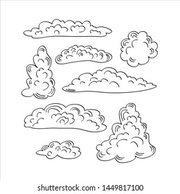 Set of doodle clouds. Black hand drawn objects on white backround. Vector illustration.