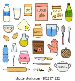 Set of doodle colored cooking, baking ingredients isolated on white background.