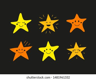 Set of doodle colored star happy character icons isolated on black background.