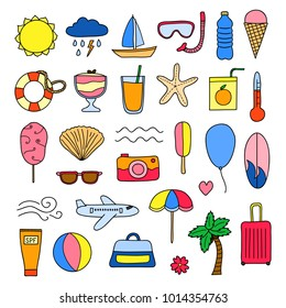 Set of doodle colorful summer and vacation items isolated on white background.