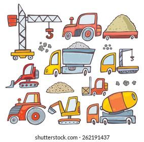 set of doodle construction equipment.