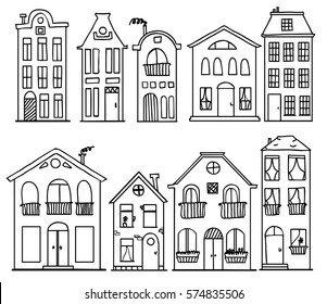 Set of doodle cute houses. Outline vector drawing