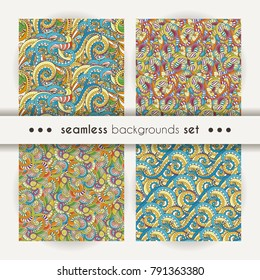 Set of doodle decorative ornamental curly vector seamless patterns. Collection of cozy cute backgrounds
