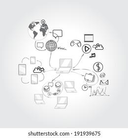 Set of doodle design vector illustration concepts for cooperation.