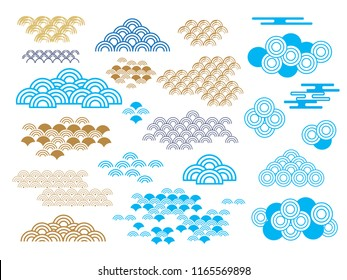 Set of doodle  different clouds.  Indigo , golden and ultra violet. Japanese, chinese elements.Vector illustration.