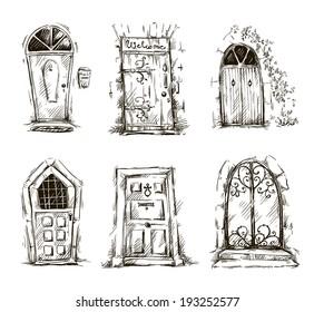 set of doodle doors sketch, vector EPS 10