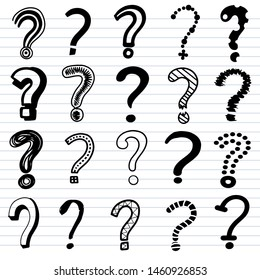 Set of doodle drawings of question marks. Collection of interrogation points hand drawn with contour lines on background. vector illustration