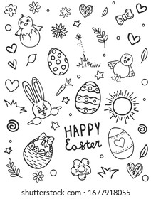 set doodle easter. Easter hand drawn vector symbols and objects.