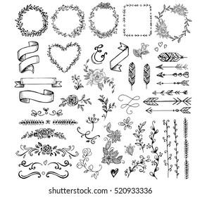 Set of doodle elements