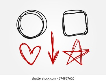 Set of doodle elements drawn by hand. Circle, square, heart, arrow, star. Sketch, scribble. Black and red isolated symbols. Vector illustration.