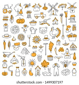 Set of doodle elements on the theme of harvest . Farming symbols. Hand drawn vector. A collection of outline elements for creating concepts about the farm, village, crop and thanksgiving.