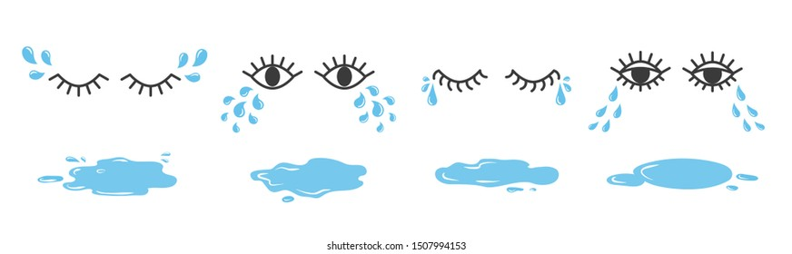 Set of doodle eyes crying with tear drops and puddles. Cartoon weeping emoji collection.