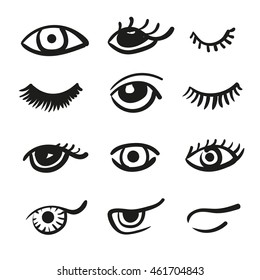 Set of doodle eyes and lashes. Vector black and white icons.