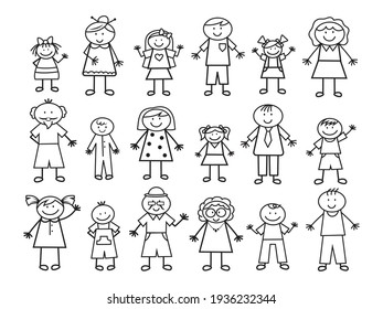 Set of doodle family figures. Collection of happy cartoon people. Vector illustration of cute stick figures. Hand-drawn.