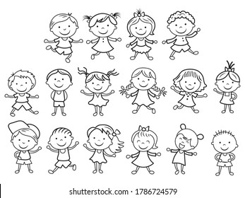 Set of doodle figure children. Collection happy cartoon stick figures boys and girls. Vector Illustration of funny kids.
