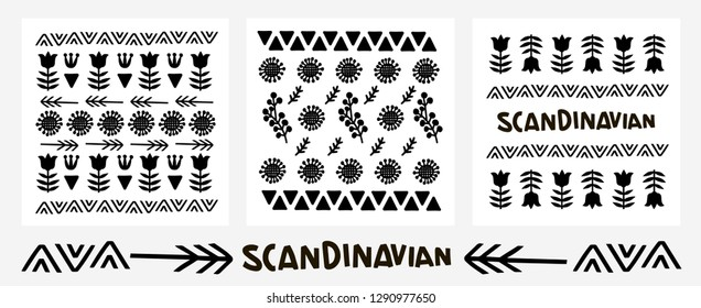 Set doodle finnish folk art - Scandinavian, Nordic style, black and white, pattern