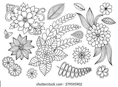 Set of doodle floral elements for card design or some your craetive ideas