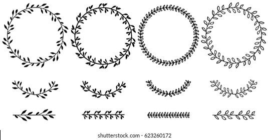 Set of doodle floral,line and leaf circle frames.illustration vector