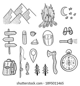 Set of doodle forest camping design elements. Hand drawn vector illustration, isolated on white background. Set of tourism equipment, engraved  in sketch.