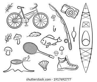 Set of doodle forest camping design elements. Hand drawn hiking and camping doodles. Sport and fishing equipment, perfect for summer camp flyers and posters