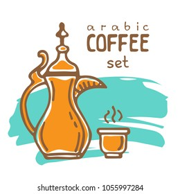 Set of doodle hand drawn sketches isolated on white background. Traditional arabic coffee mug and coffee cup. Design elements for cafe menu, fliers and chalkboards.