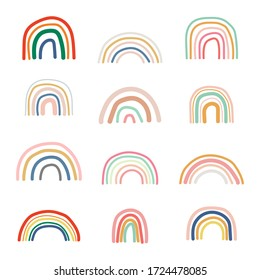 Set of doodle, hand-drawn rainbows. Collection of cartoon colorful style isolated on white background. Design baby cute, sketches style. Wallpaper.  Vector illustration.
