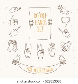 Set of doodle hands showing different signs such as  pointing, like, dislike, victory, holding labels. Hand drawn vector cartoon illustration for your design.