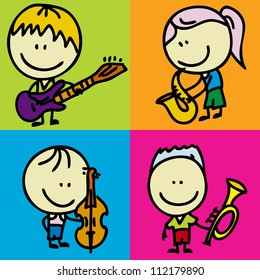 Set of doodle happy children band with musical instruments