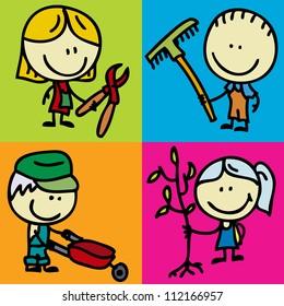 Set of doodle happy children with garden tools
