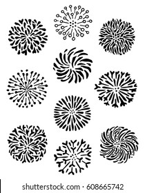 Set of doodle herbal dandelion mandala symbols and round outline flower elements. Stamens, pistils in floral circles. Black and white silhouette hand-drawn ink plant graphics. Vector illustration.