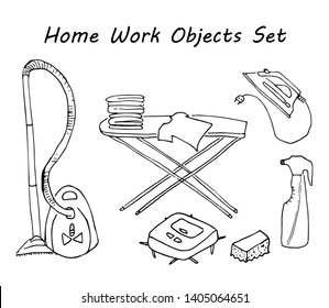 set of doodle housework objects. Ironing board, vacuum cleaner, spray, robot vacuum cleaner, iron, pile of linen.
