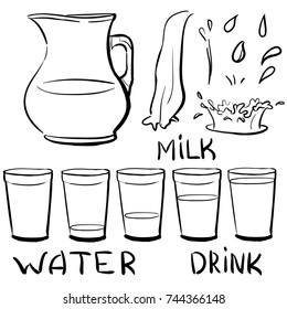 Set doodle icons - Jug and glasses with a drink - splashing and pouring glass. Doodle glass: empty, partially filled, half full, full. Image include hand drawing words: Water, Milk, Drink