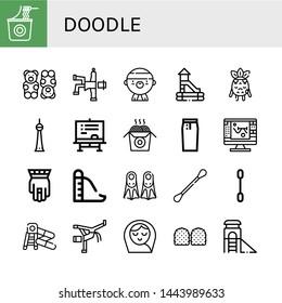 Set of doodle icons such as Instant noodles, Gummy bear, Hip hop, Gangsta, Slide, Sad, Berlin, Chalkboard, Noodles, Pencil skirt, Sketch, Hamsa, Fins, Cotton swabs, Cotton swab , doodle