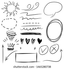 set of doodle Infographic elements, black on white background. Arrow, heart, love, star, light, bubble speech, crown, king, Check marks , queen,Swishes, swoops, emphasis ,swirl, for concept design.