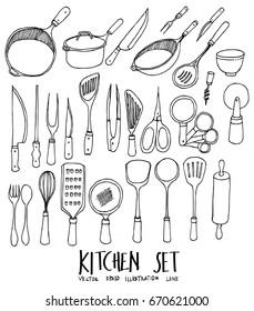 Set of Doodle kitchen Hand drawn Sketch line vector illustration