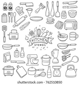 Set of doodle kitchen utensil outline in black isolated over white background