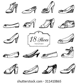 Set of doodle lady's shoes. Shopping illustration.