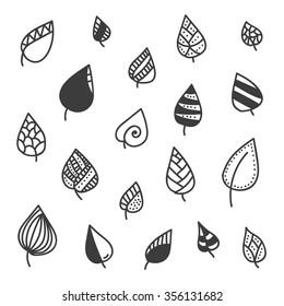 Set of doodle leaves isolated on white background.